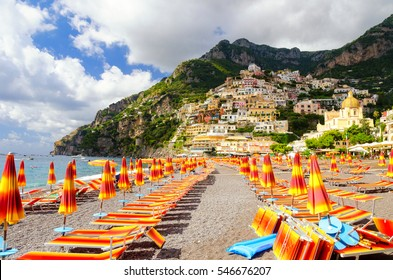 view on beach in Positano on Amalfi coast, Campania, Italy