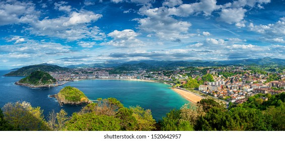 View on the beach of San Sebastian, Spain