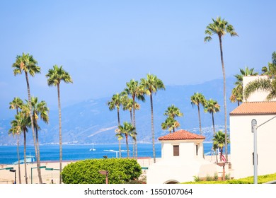 View on beach in Santamonica from California incline pathway