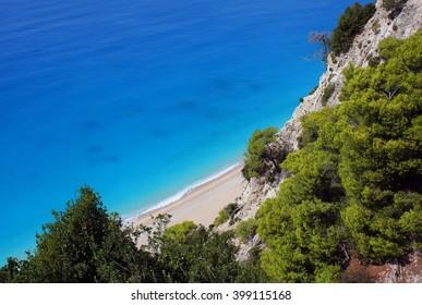 View on the beach and sea, Lefkada, Greece