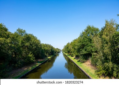 View on Beatrix canal near Eindhoven in sunny day, waterways of North Brabant, Netherlands