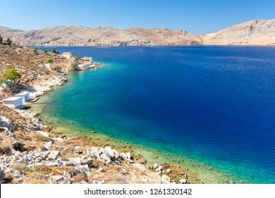 view on beautiful coast on Symi island in Greece