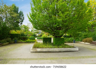 View on beautiful green garden in Denmark