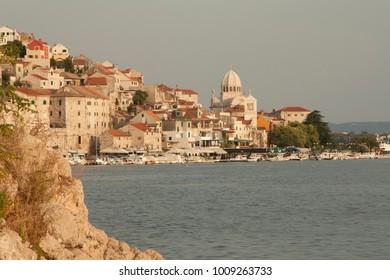 View on beautiful medieval Croatian town Sibenik, Adriatic coast