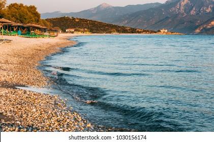 A view on beautiful Mykali beach on Samos island in Greece