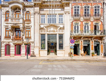 View on the beautiful old facades buildings in Art Nouveau architectural style in Aveiro city in Portugal