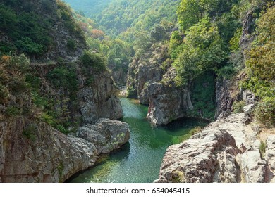 View on the beautiful river Ardeche near the village of Thueyts in the Ardeche department in France