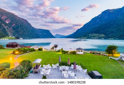 View on beautiful Sognefjord during sunset from a hotel in Skjolden Sogn og Fjordane county in Western Norway