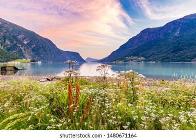 View on beautiful Sognefjord during sunset from Skjolden Sogn og Fjordane county in Western Norway