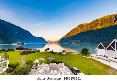 View on beautiful Sognefjord in the early morning from a hotel in Skjolden Sogn og Fjordane county in Western Norway