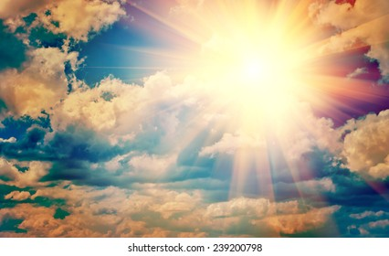 view on beautiful sun in blue cloudy sky instagram stile instagram stile