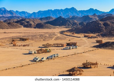 View on bedouin village in Arabian desert, Egypt