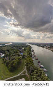 View on Belgrade city and Sava river in day time