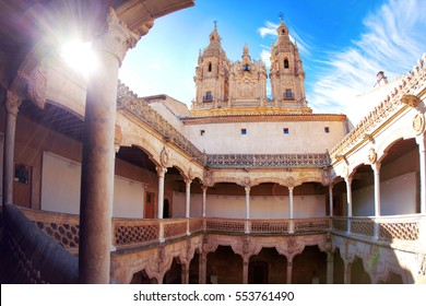 View on the bell tower of Cathedral from the patio. Salamanca, Spain