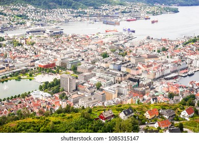View on Bergen city centre and harbor from the mountain top, Norway. Bergen is a city and municipality in Hordaland on the west coast of Norway. Cityscape of Bergen.