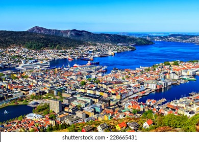 View on Bergen and harbor from the mountain top