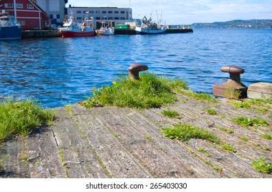 View on Bergen, old wooden pier and modern quay in the background, Norway