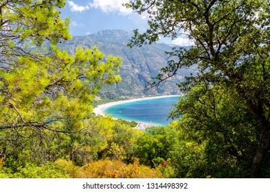 view on blue lagoon in Oludeniz in Turkey
