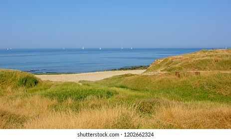 View on the blue north sea from the dunes along Opal coast on a sunny summer day in Pas de Calais, France