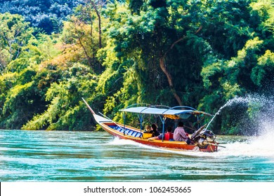View on boat on Mae Nam Kok river by Chiang Rai - Thailand