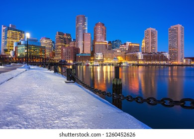 View on Boston city center at winter night