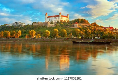 View on Bratislava castle and old town over the Danube river in Bratislava city, Slovakia