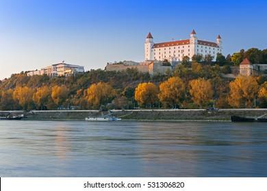 View on Bratislava castle,Parliament and Danube river in capital city of Slovakia,Bratislava