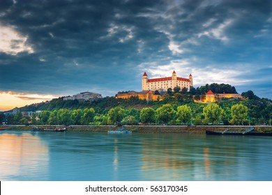 View on Bratislava castle,Parliament and Danube river in autumn sunset,Brarislava,Slovakia