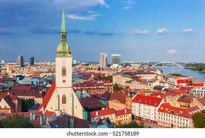 View on Bratislava city with St. Martin's Cathedral and Danube river,Bratislava,Slovakia