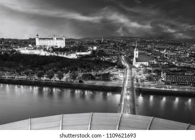 View on Bratislava old town and castle over Danube river in Bratislava city, Slovakia - Shutterstock ID 1109621693