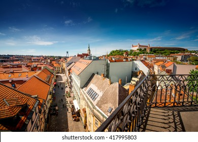 View on Bratislava old town and castle hill from Michael's watch tower in Bratislava, Slovakia