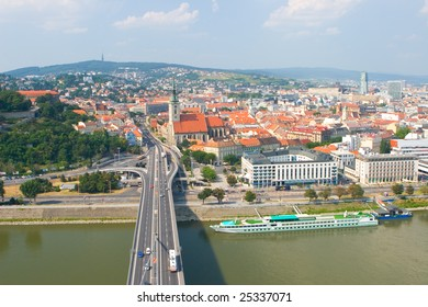 View on the Bratislava town with roads and buildings