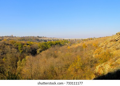 View on the bridge across the river Southern Bug in Ukraine on autumn