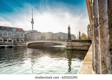 view on bridge over Spree river to Museums Island Berlin