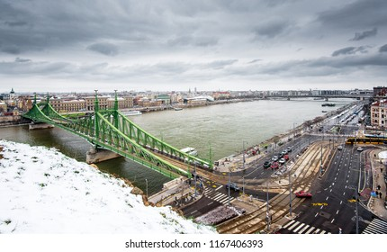 View on Budapest with the Elisabeth bridge in winter
