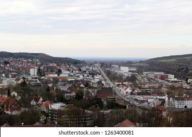 view on the building exterior and the hills in bielefeld germany photographed during a sightseeing tour at a sunny day