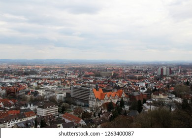 view on the built structure and the cloudy sky in bielefeld germany photographed during a sightseeing tour at a sunny day