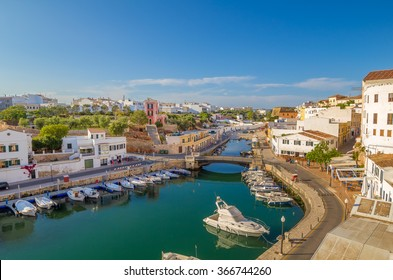 View on Canal des Horts at the old town of Ciutadella de Menorca, Spain.