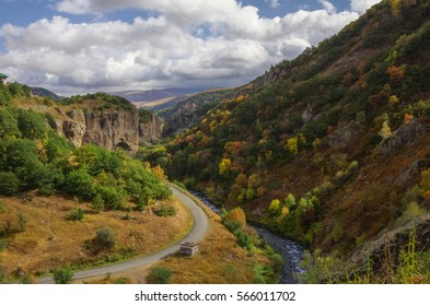 View on canyon of Arpa river near spa resort city Jermuk. Autumn's color trees. Armenia