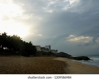 View on Cape Coast Castle from the beach in Ghana, Africa.