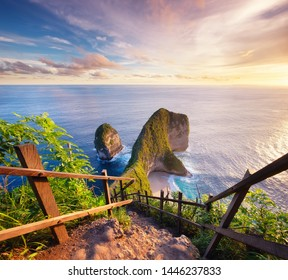 View on the cape during sunset. Seascape during the sunset. Beach and ocean. Kelingking beach, Nusa Penida, Bali, Indonesia. Travel - image