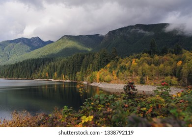 View on Capilano Lake  and mountains in Vancouver in Autumn
