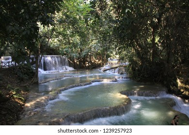 View on cascade terraces in isolated jungel - Kuang Si waterfalls near Luang Prabang, Laos