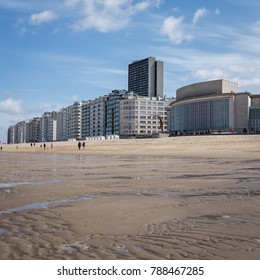View on Casino Kursaal building from beach of Oostende