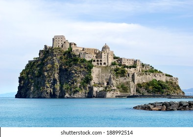 View on Castello Aragonese from Ischia Ponte, Italy / Aragonese Castle