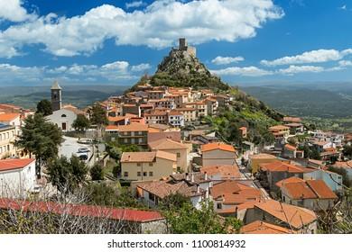 view on castle of burgos little village in sassari sardinia italy