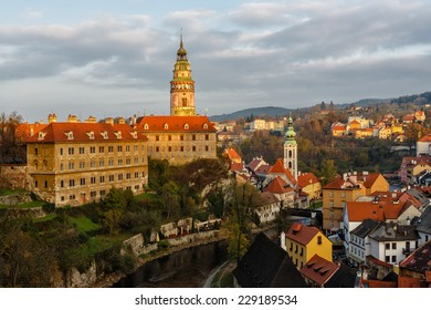 View on castle and downtown of Cesky Krumlov