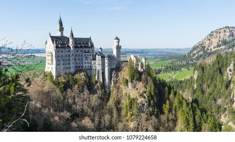 View on the castle of Neuschwanstein in Germany from the top