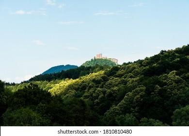view on the castle ruin of trifels in the southwest palatine forest (pfälzer wald) in rheinland-pfalz, germany - Shutterstock ID 1810810480