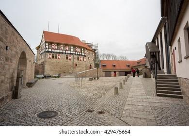 View on castle Scharfenstein in west Thuringia / Germany